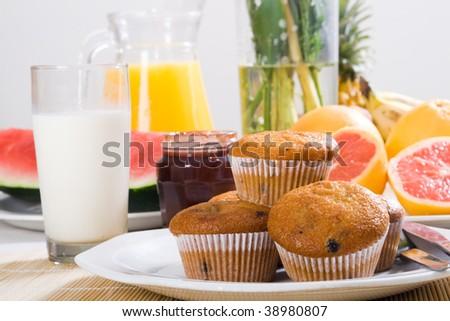 hearty healthy breakfast - stock photo