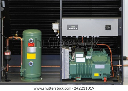 Heat exchanger pump for reneweble energy source - stock photo