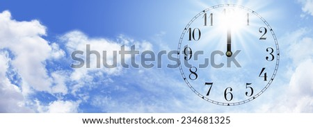 Heat of the Midday Sun  -  Wide blue sky background with fluffy clouds and a transparent clock face showing midday with a bright sunburst behind the hands at 12 o'clock depicting the midday sun - stock photo