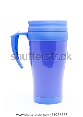 Heat protection- blue thermos for coffee mug - stock photo