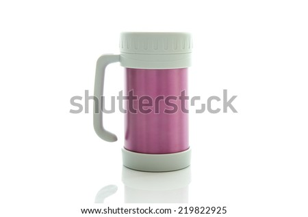 Heat protection-pink thermos for coffee mug, isolated on white - stock photo