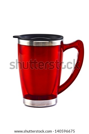 Heat protection- red thermos for coffee mug, isolated on white - stock photo
