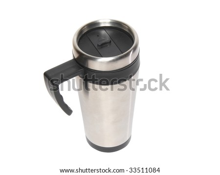 Heat protection-thermos( steel travel)coffee mug isolated on white. - stock photo