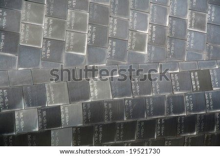 Heat resistant tiles on outside of nose of Space Shuttle, Florida - stock photo