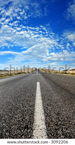 Heat scorches the road in rural South Australia - stock photo