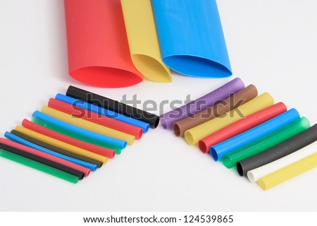 Heat shrink tubing. Colorful isolation pipe.