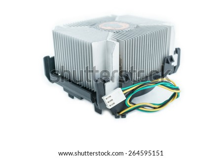 heat-sink of cpu  in isometric bottom view - stock photo