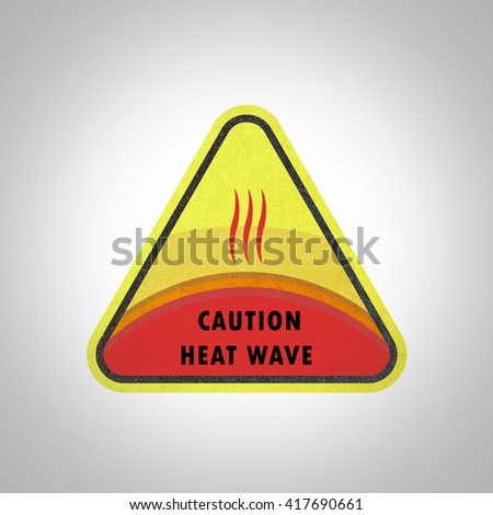 Heat wave signal, Paper craft, Heat wave recycled paper craft on white background - stock photo