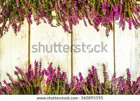 Heather flowers on wooden background useful as greeting card. - stock photo