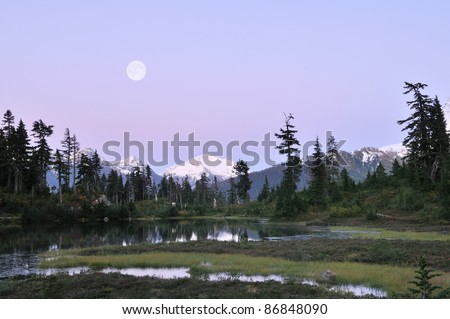 Heather Meadow moonrise, Mt. Baker national park - stock photo