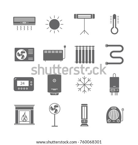 Heating and cooling icons isolated on white. Ventilation and conditioning