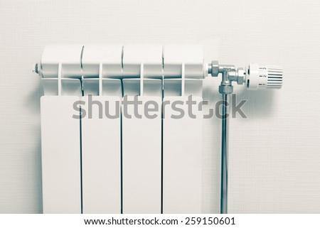 heating radiator at home - stock photo