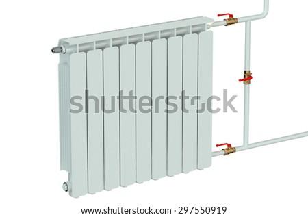 heating radiator closeup isolated on white background - stock photo