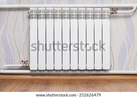 Heating radiator in room. Design of interiors  - stock photo