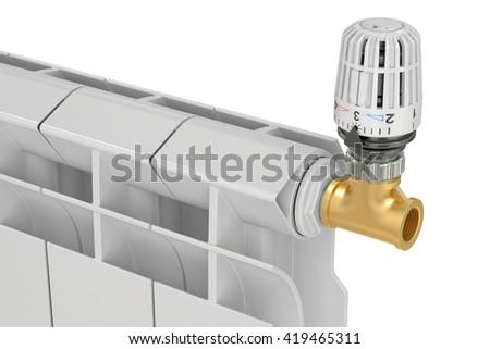 heating radiator thermostatic valve, 3D rendering - stock photo