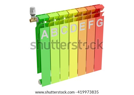Heating radiator with energy efficiency chart, 3D rendering - stock photo