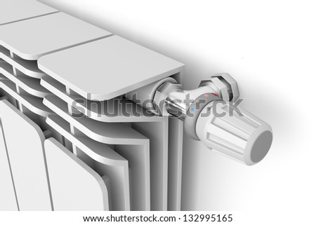 Heating radiator with thermostat, 3d rendered image - stock photo