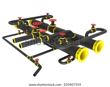 Heating system on a white background - stock photo