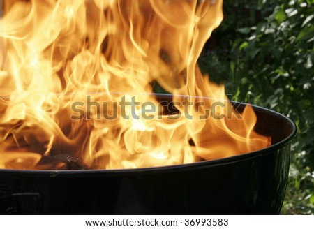 Heating up before the BBQ. - stock photo