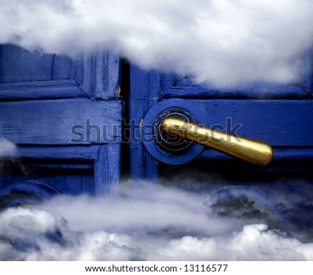 Heaven blue door - stock photo