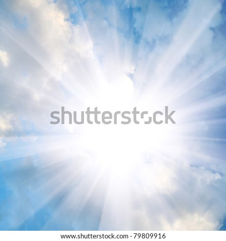 heaven - clouds and star in the blue sky - stock photo