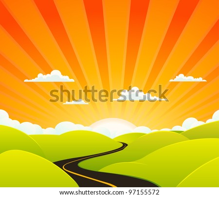Heaven Road/ Illustration of a cartoon symbolic road going towards paradise