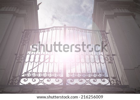 Heaven's gate with sun rays ,abstract background - stock photo