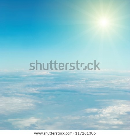 Heaven, sun, sky and clouds. View from the above - stock photo