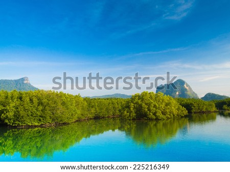Heavenly Landscape Clear Day  - stock photo