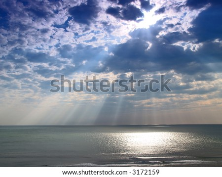 Heavenly light from the sky - stock photo