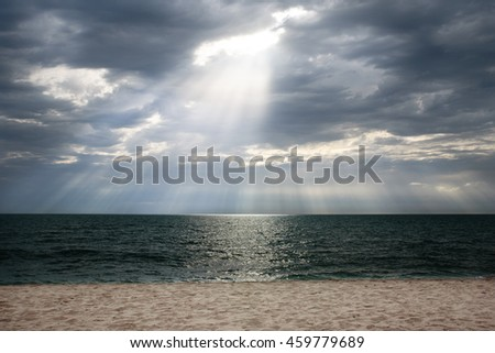 Heavenly light from the sky. - stock photo