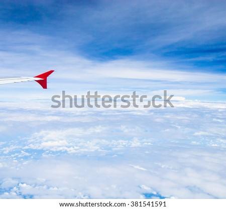 Heavenly Scene Wing over Lands  - stock photo