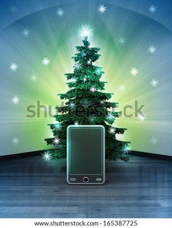heavenly space with new smart phone under glittering xmas tree illustration - stock photo
