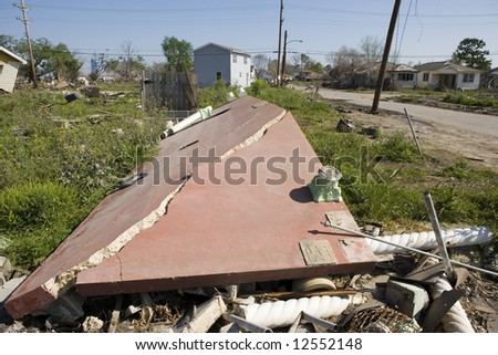 Heavily damaged homes in the Ninth Ward of New Orleans. - stock photo