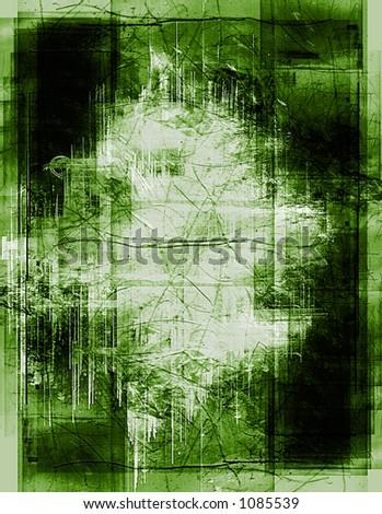 heavily layered frame - green version - stock photo