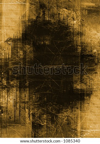heavily layered frame - sepia version - stock photo