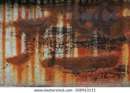 Heavily rusted galvanized iron sheet metal - stock photo