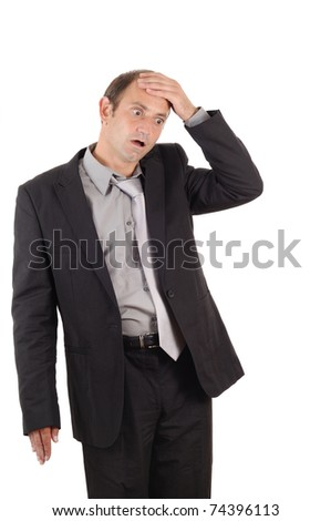 heavily shocked businessman