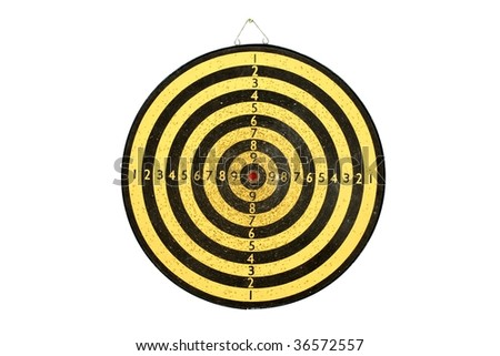 Heavily used darts board on white wall