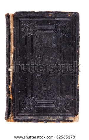 Heavily worn old book, great texture, isolated on white - stock photo
