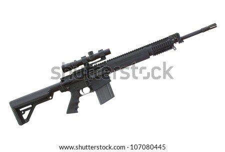 Heavy AR that has an optic on top and plenty of rails - stock photo