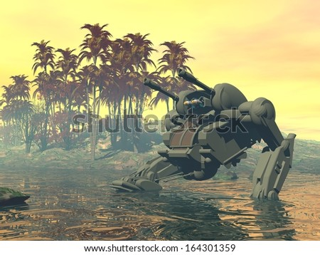 Heavy armed Mechanized Intelligent Vehicle on amphibious assault. Original creation and modeling by the author. - stock photo