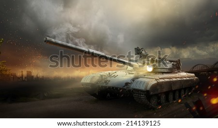 Heavy armor in the fire of battle  - stock photo