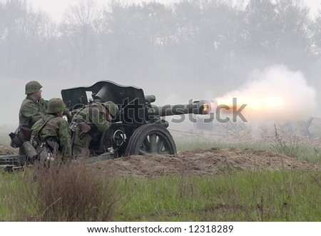 Heavy artillery gun fire on military history role game