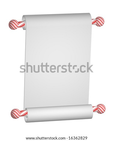 Heavy blank white paper scroll on Christmas peppermint stripe rods isolated on white. - stock photo