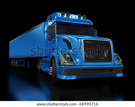 Heavy blue truck isolated on black background - stock photo
