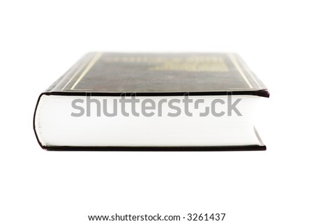 heavy book with white pages and brown cover (shallow dof) - stock photo
