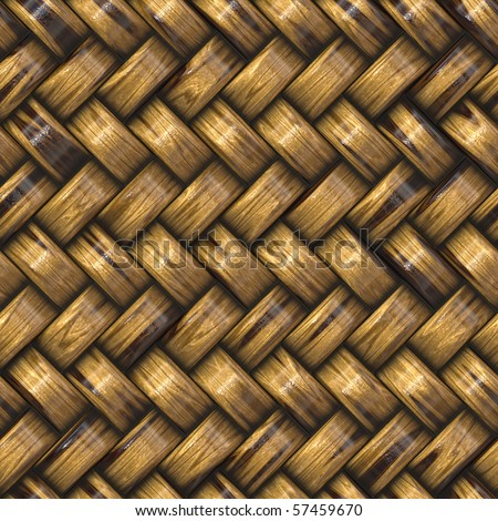 heavy brown weave of brown wicker rings. seamless tile for larger application - stock photo