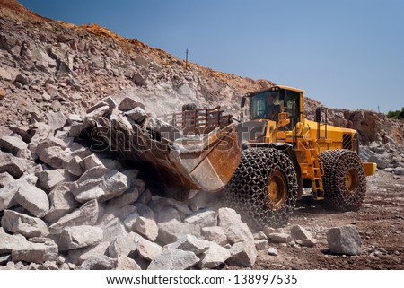 heavy building bulldozer quarry,car (HDR) - stock photo