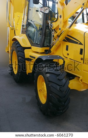 Heavy building yellow bulldozer